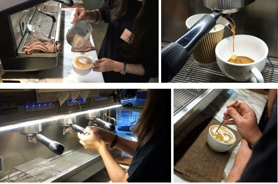 Coffee-making and latte art by our barista trainees