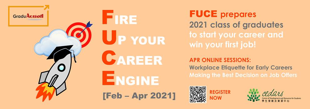 Banner: Fire Up your Career Engine (FUCE) – Zoom Career Seminars & Workshops